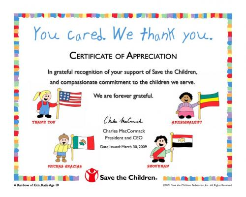 Save the Children: Certificate of Appreciation