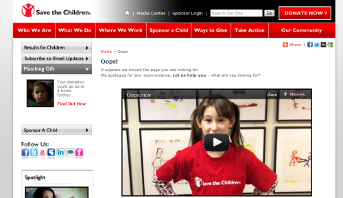 "Save the Children ""Oops"" page screenshot"
